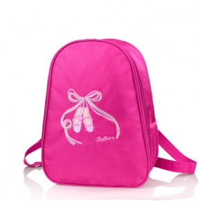 Fuchsia hot pink light pink shoes decor double shoulder girls kids children tutu ballet dance water proof canvas backpacks pointe bags