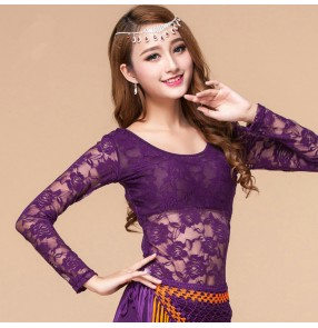 Fuchsia hot pink purple royal blue black white yellow lace long sleeves sexy fashion women's girls belly dance tops shirts