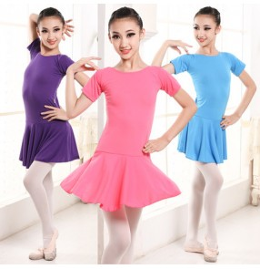 Fuchsia hot pink purple violet blue black short sleeves girls baby children gymnastics exercises latin ballet dance leotards dresses