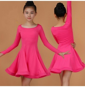 Fuchsia hot pink red black violet light purple mint royal blue long sleeves round neck growth girls kids children performance competition latin salsa dance dresses