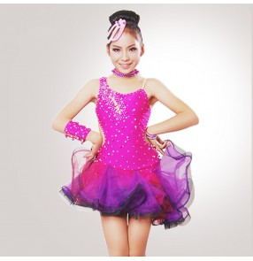 Fuchsia hot pink red royal blue patchwork yellow rhinestones school competition girls kids children ballroom salsa latin dance dresses outfits