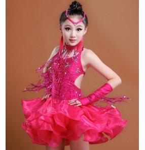 Fuchsia hot pink red royal blue sequins paillette fringes glitter girls kids children competition latin salsa rumba ballroom dance dresses