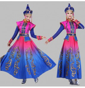 Fuchsia hot pink royal blue gradient colored long sleeves women's party performance Mongolian international cosplay dancing robes dresses outfits