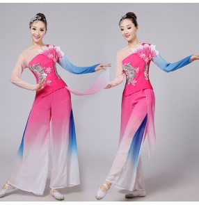 Fuchsia hot pink royal blue gradient colored women's girls kids children fan traditional fairy yangko folk dancing costumes outfits