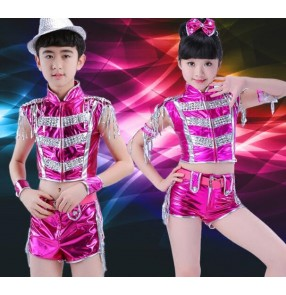 Fuchsia hot pink royal blue silver red leather boys kids school competition children girls hip hop jazz dancing outfits