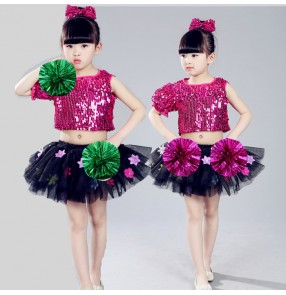 Fuchsia hot pink sequins paillette fashion flower girls modern dance princess jazz singers performance dresses outfits