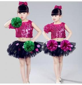 Fuchsia hot pink sequins paillette fashion flower girls modern dance princess jazz singers performance dresses outfits
