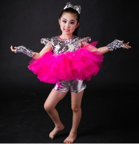 Fuchsia hot pink silver sequins tops hot pink violet yellow tutu skirt girls kids children competition stage performance jazz hip hop modern dancing outfits dresses