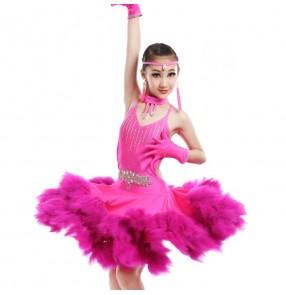 Fuchsia hot pink turquoise blue Ostrich feather diamond rhinestones handmade competition performance girls ballroom latin cha cha dance dresses