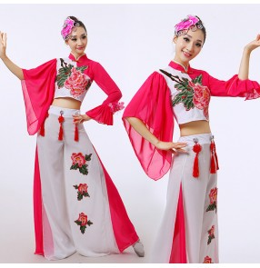 Fuchsia hot pink white  embroidery rose flowers women's ladies folk dance traditional ancient china yangko fairy fan dancing outfits costumes clothes
