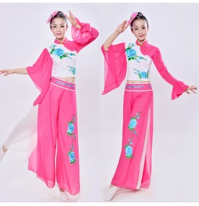 Fuchsia hot pink white embroidery rose pattern women's girls china folk yangko fan traditional fairy fan dancing outfits costumes clothes