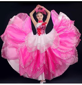 Fuchsia hot pink white gradient colored long sleeves women's competition cosplay chorus performance flamenco bull dance photos cosplay dresses outfits