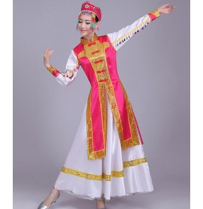 Fuchsia royal blue gold patchwork long length women's minority folk Mongolian dancing cosplay riding dancing dresses robes
