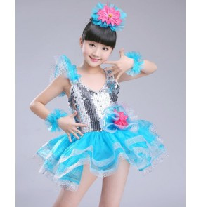 Fuchsia silver turquoise patchwork girls kids children princess modern dance jazz singers ballet dance dresses gowns