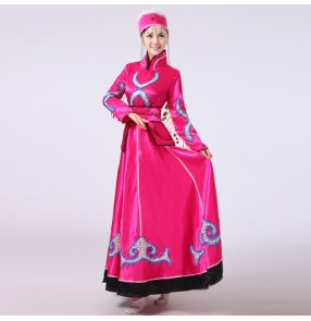 Fuchsia turquoise long sleeves women's ladies Mongolian folk dancing party cosplay minority  performance riding dance dresses robes