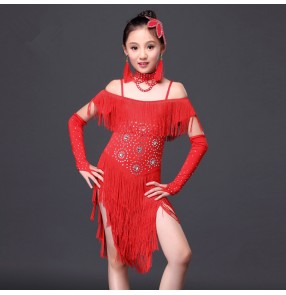 Girls child kids children fuchsia red royal blue fringe tassels rhinestones dew shoulder competition professional latin salsa cha cha dance dresses with choker and gloves