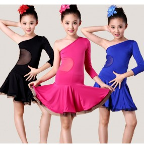 Girls  children child kids fuchsia royal blue black one shoulder long sleeves competition exercises latin dance dresses ballroom dance dresses