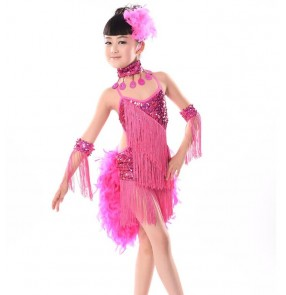 Girls children's kids child  turquoise fuchsia yellow feather tail sequined tassels exercises competition stage latin dresses samba salsa dance dresses 110-160cm