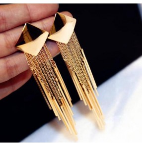 Gold alloy metal fringes fashion women's girls performance party dance dress earrings ear stud