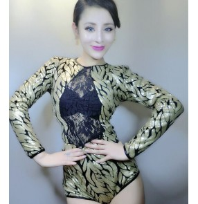 Gold black lace patchwork sequins long sleeves v neck fashion sexy women's singer jazz cosplay night cub bar dancer costumes bodysuits