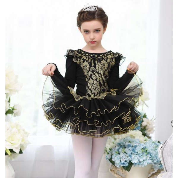 77e226404 Gold black lace patchwork tutu skirt girls kids children performance ...