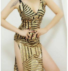 Gold black patchwork sexy fashion women ladies competition contest performance jazz night club bar singer dancers dancing dresses outfits