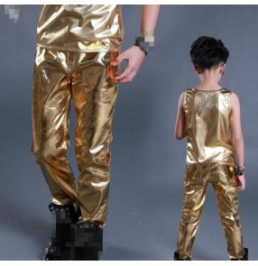 Gold black patent leather glitter paillette long length boys kids children baby competition performance hip hop jazz singer dancing pants trousers