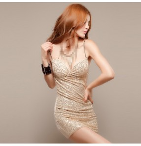 Gold black sequins paillette sleeveless women's girls stage performance singer jazz bar night club dancing slip dresses