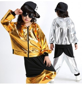 Gold black silver patchwork girls kids child children boys school play modern dance stage performance school jazz dance hip hop dance outfits costumes