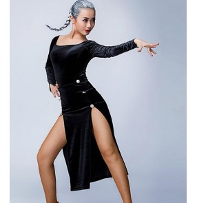 Gold black velvet split sexy fashion competition contest women's ladies fashion sexy latin salsa cha cha dance dresses outfits