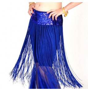 Gold black white fuchsia hot pink sequins tassels fringes girls women's ladies competition belly dance skirts hip scarf  costumes