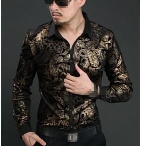 Gold floral printed fashion men's high quality performance long sleeves cosplay photos jazz singer dj night club bar slim dress shirts