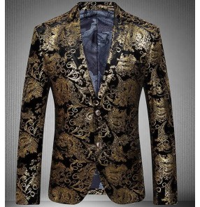 Gold floral printed long sleeves men's fashion stage performance jazz singer dancers wedding prom party cosplay dress blazers coats