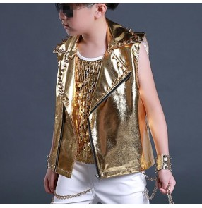 Gold glitter patent leather rivet fashion boys kids children drummer dj ds hip hop singer hip hop dance dancing vest waistcoat