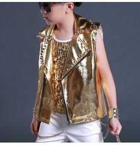 Gold glitter patent leather rivet fashion boys kids children drummer dj ds hip hop singer hip hop dance dancing vest waistcoat