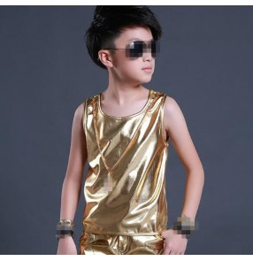 Gold glitter silver stage patent leather performance boys kids children hip hop jazz drummer night club bar contest dancing tops vests