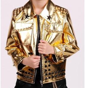 Gold leather long sleeves boys kids children rivet fashion motor cycle school competition hip hop jazz singer drummer dancing coats jackets