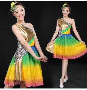 Gold leather silver sequins rainbow green red yellow fuchsia one shoulder girls women's modern dance jazz competition party dancers singers dresses outfits