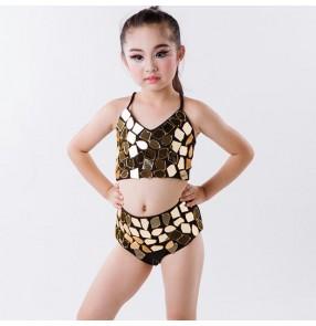 Gold lens glitter girls kids children modern dance fashion stage performance jazz singer dancing outfits costumes