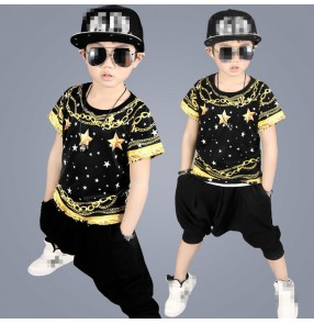 Gold printed black fashion modern dance boys kids children school competition performance hip hop jazz dance costumes outfits