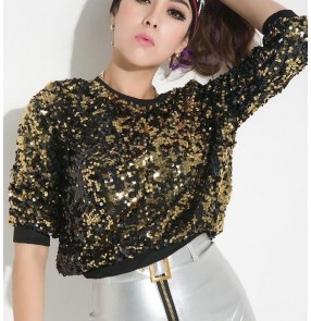 Gold rainbow black sequins glitter paillette women's girls hot dance stage performance hip hop jazz singer party dancing tops shirts