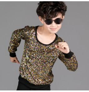 Gold rainbow sequins glitter modern dance long sleeves children kids baby school competition hip hop jazz drummer ds dancing tops t shirts