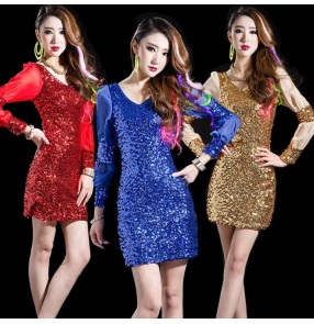 Gold red fuchsia hot pink silver black royal blue long sleeves fashion sequins girls women's sexy hot dance singer dj jazz singer hip hop stage performance dresses outfits