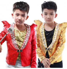 Gold red sequined long sleeves shrug shoulder  fashion boys kids children jazz drummer competition singers hip hop jazz dancing tops jacket blazers
