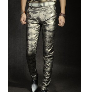 Gold red  silver camouflage fashion slim men's male motor cycle jazz bar singer night club dj ds dancers performance cosplay dancing pants trousers