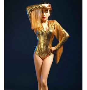 Gold rhinestones rivet competition performance sexy fringes women's girls jazz singers dancers masquerade dancing outfits bodysuits