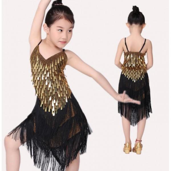 a51b4d53eef0 Gold sequins black patchwork sleeveless sexy backless girls kids ...