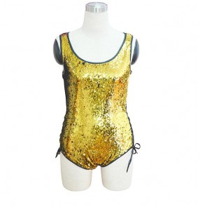 Gold sequins girls women's competition stage performance night club jazz singers dancing choreographic leotards bodysuits