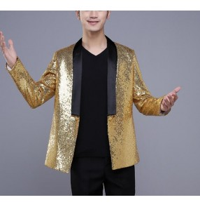 Gold sequins glitter fashion men's male competition stage performance party cosplay singer night club ds jazz pole dance blazers tops