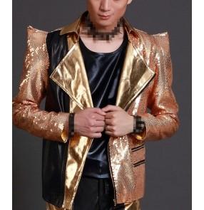 Gold sequins long sleeves shrug shoulder fashion men's male night club bar performance singer jazz dj dancing jacket blazers